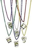 Mardi Gras, Metallic Beads with Shot Glass Necklace, 7 mm, 33'', 10 Dozen (120pcs).