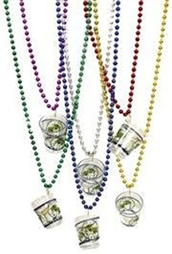 Mardi Gras, Metallic Beads with Shot Glass Necklace, 7 mm, 33'', 10 Dozen (120pcs). by EUR001