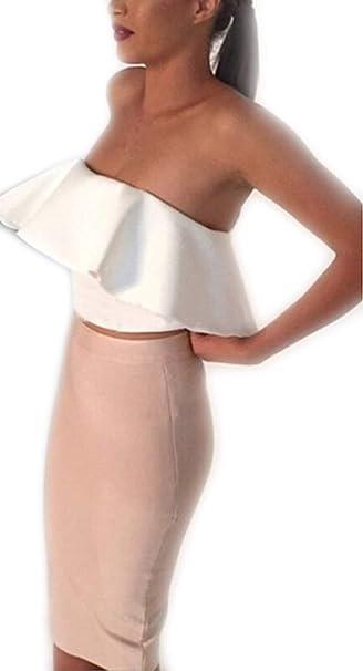 Mujer 2 Juegos Set Top Modernas Casual Y Faldas Crop Elegantes ...