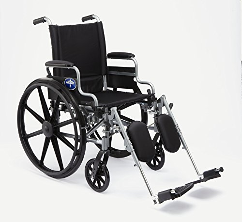 """Medline Lightweight and User-Friendly Wheelchair with Flip-Back, Desk-Length Arms and Elevating Leg Rests for Extra Comfort, Gray, 20"""" ()"""