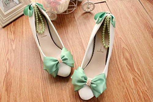 Green Cn38 Heel Wedding Si Dress Party Women's Bride Height And colorful Shoes handmade amp; Decals banquet customize Bowknot pearl bridesmaid Anklet spring Summer 11AcwpgrBq