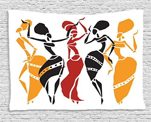 Red Lady Silhouette (Ambesonne African Decorations Collection, African Lady Dancers Body Silhouettes in Motion Pose Exotic Characters Theme, Bedroom Living Room Dorm Wall Hanging Tapestry, 60 X 40 Inches, Black Yellow Red)