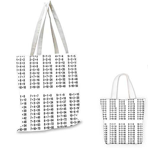 (Educational canvas shoulder bag Multiplication Table on White Background Mathematics Algebra School Student small tote shopping bag Black White. 13