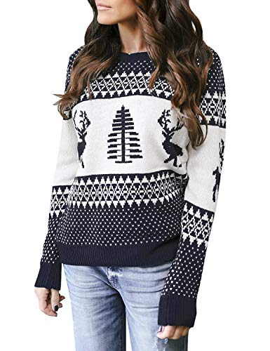LookbookStore Women's Navy Long Sleeves Ugly Christmas Tree Reindeer Winter Holiday Knit Sweater Pullover Size S 4 -