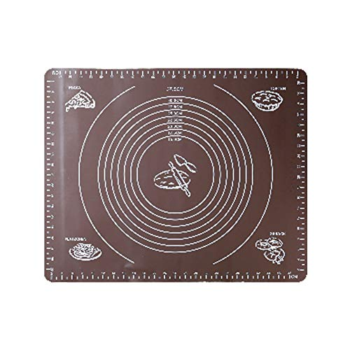 SK Large Silicone Pastry Mat with Measures Non-Slip Sheet, Full Sticks to Countertop For Rolling Dough (20''x 16'') ()