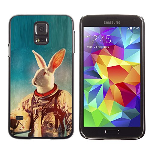 amsung Galaxy S5 white rabbit space suit travel animal experiment / Slim Black Plastic Case Cover Shell Armor