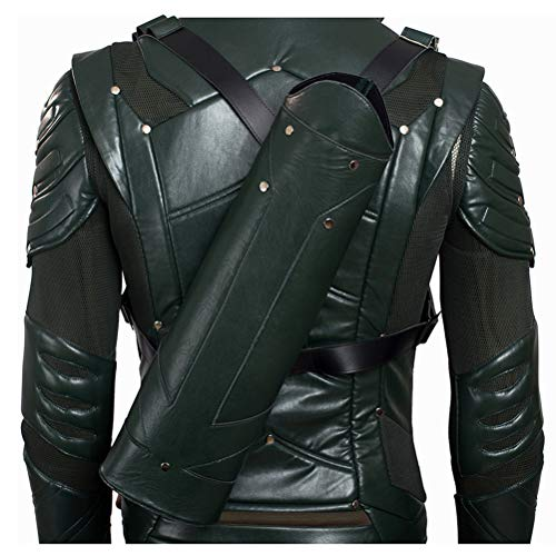 COMShow Green Faux Leather Arrow Quiver Oliver Queen Season 5 Mens Archer Costume for Comic Con Halloween Convention (ONLY -