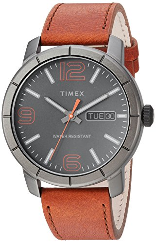Timex Men's TW2R64000 Mod 44 Brown/Black Leather Strap Watch (Gray Watches For Men)