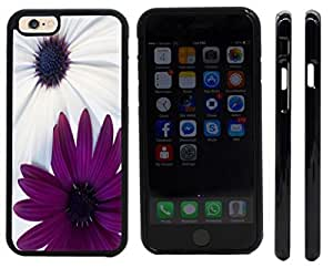 Rikki KnightTM Sharp Color Purple and White Daisies Design iPhone 6 Case Cover (Black Rubber with front bumper protection) for Apple iPhone 6