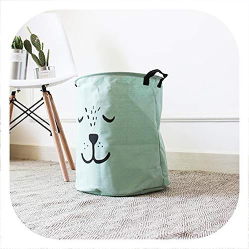 Cartoon Storage Bag Cotton Linen Multi-Function Folding Clothes Shocks Kid Toy Basket Bins Home Organizer Laundry Storage Boxs,M,cyanCartoon ()