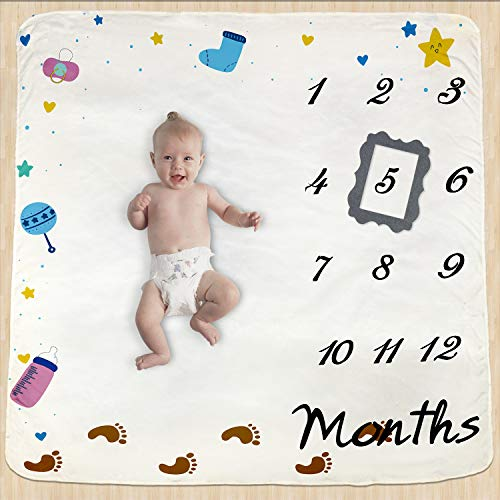 Baby Monthly Milestone Blanket for Boy Girl,Large Personalized Photography Background Photo Prop for Infant & Babies,Mom Newborn, 47.2''x47.2''