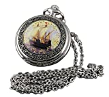 VIGOROSO Men's Vintage Boat Ship Quartz ENAMEL Painting Steampunk Clock Necklace Pocket Watch