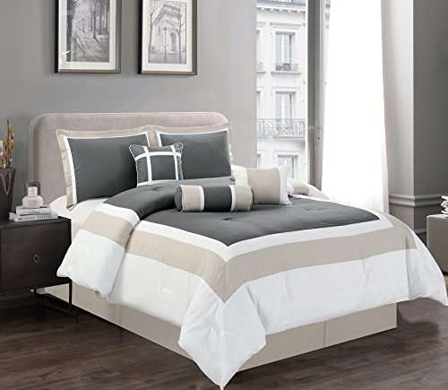 7 Piece KING Size DARK GREY / LIGHT GREY / WHITE Color Block MILAN Goose Down Alternative Comforter set 104'' X 90'' Bedding + Accent Pillows by Grand Linen