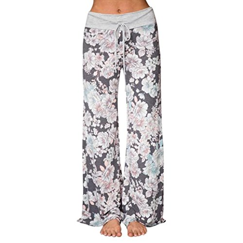 Large Size Pants for Womens, FORUU Printed Trousers Ladies Summer Loose Wide Leg (2XL, Gray) -