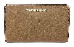 Michael Kors Jet Set Travel Saffiano Leather Slim Bifold Wallet Dark Khaki