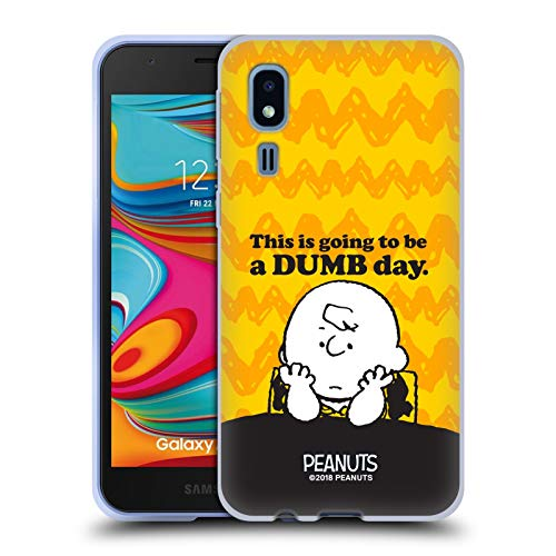 Official Peanuts Dumb Day Charlie Brown Soft Gel Case Compatible for Samsung Galaxy A2 Core (2019) (Best Dumb Phone 2019)