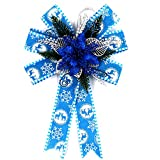 ALEKO CHDB10BL Oversized Statement Holiday Bow Christmas Swag Blue and Silver