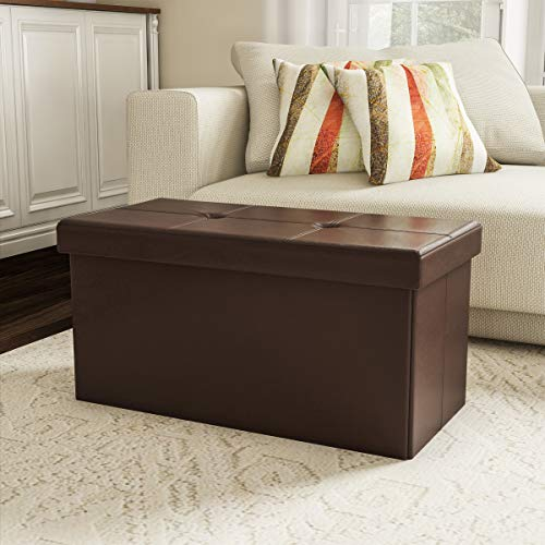 Vinyl Storage Ottoman - Lavish Home 80-FOTT-8 Large Foldable Storage Bench Ottoman - Tufted Faux Leather Cube Organizer Furniture for Home, Bedroom, Living Room, Dorm or RV (Brown),