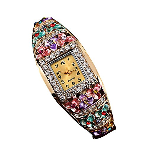Creazy Women Quartz Luxury Crystal Flower Bracelet Watch (Multicolor) from CreazyDog