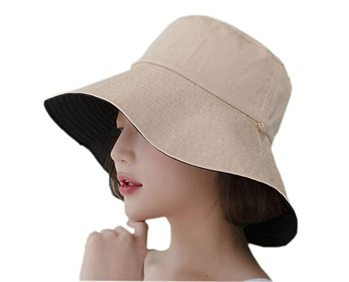 9377d581c4393c Mvchif Women Sun Hat Large Brim Anti-UV Fold Floppy Visor Cap for Beach  Travel