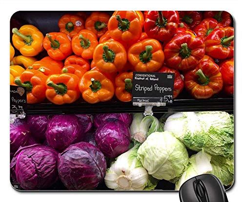 Mouse Pad - Produce Grocery Store Shelf Vegetables Peppers