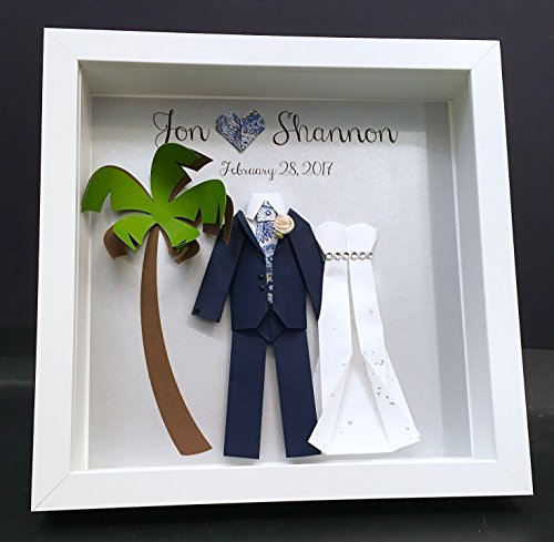 Wedding Gift Paper Origami Bride /& Groom Frame Wall Art Decor Personalized First Anniversary Gift Paper Anniversary Gift