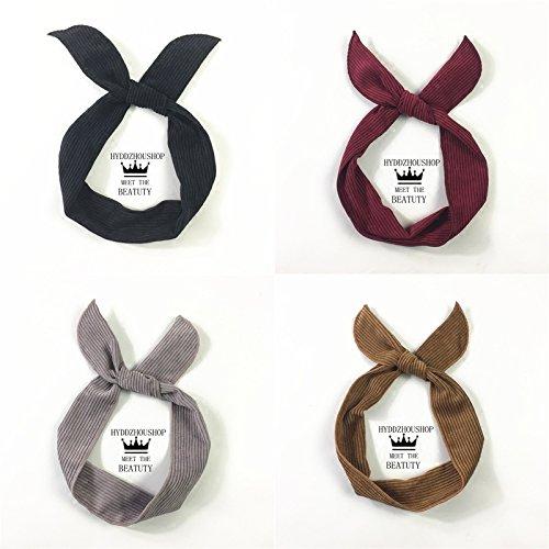 CROSS retro ribbon winter corduroy rabbit ears headband casual scarf folded wire headband Hair for women girl lady
