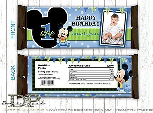 10 BABY MICKEY MOUSE 1st Birthday Party Black & Blue Polka Dot Large Hershey's Candy Bar -
