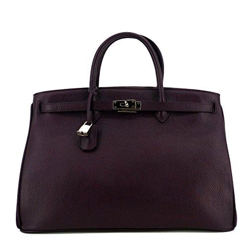 Rouven Marsala Rouge Bordeaux & Argent Grace 40 Tote Bag Ladies Sac complet en cuir Femmes Affaires A4 Noble Moyen Moderne (40x27x19cm)