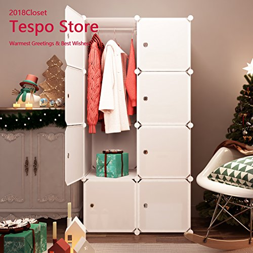 Tespo Portable Clothes Closet Wardrobe, Freestanding