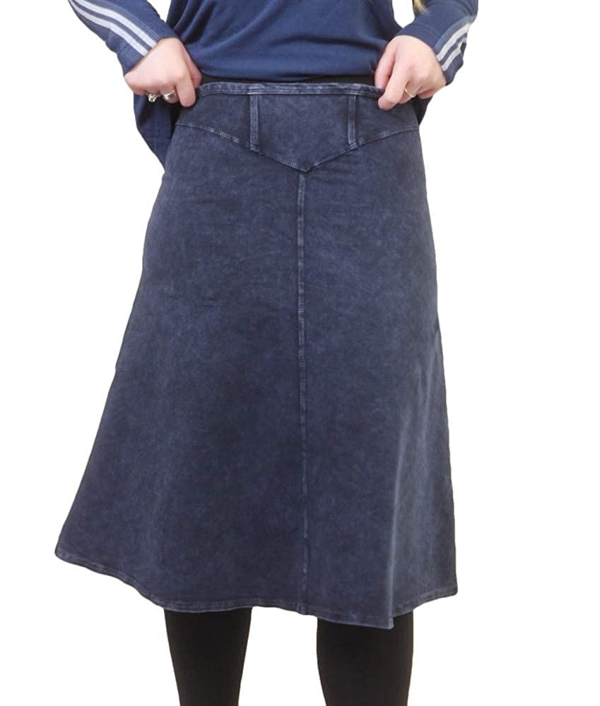 Dark Denim Hardtail Yoke Knee Skirt W378