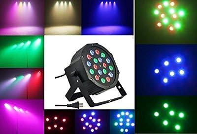 Lightahead® 18W (18*1W) 7 Channel RGB Indoor LED Flat Par Light Voice Music Activated DMX512 LED PAR Light for Stage Lighting KTV DJ Disco Party Stage Effect PAR Light Rotating Lamp Bulb