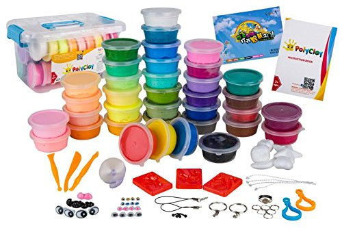 Polymer Clay by PolyClay Air Dry, 36 Color Ultra Light Mega Pack Magic Crafts Kit with Accessories, Modeling Tools and Tutorials, Non-toxic, Eco-Friendly. FDA APPROVED