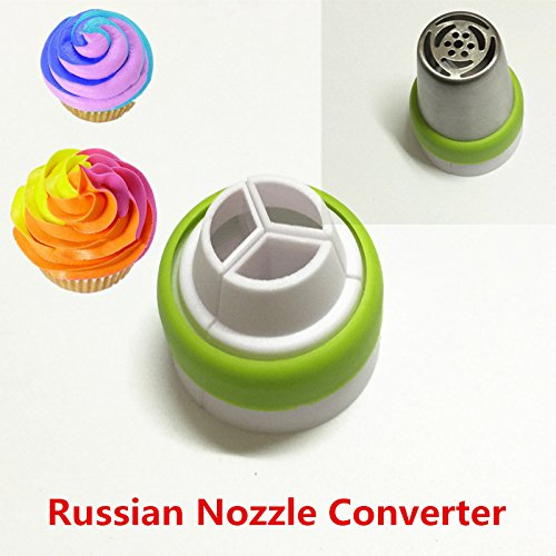 Russian Icing Piping Nozzle Converter Tri-color Cream Coupler Cake Decorating Tools For Cupcake Fondant Cookie 3Color Adaptor