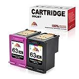 MONY Remanufactured Ink Cartridges Replacement for 63 63XL Ink Cartridges (Black & Tri-color) Used in Envy 4520 4512 Deskjet 2132 3632 3630 1112 Officejet 4650 3830 4655 Printer, Ink Level Display