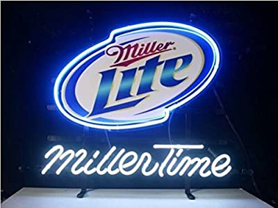 "New Miller Time Miller Lite Neon Light Sign Display Beer Bar Pub Store Club Garrag Dealers Windows Garage Wall Sign 17w""x 14""h"