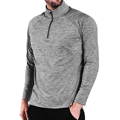 Ogeenier Men's 1/4 Zip Pullover Running Shirts Thermal Long Sleeve Shirts Tops Sweatshirts