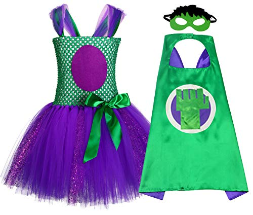 (Halloween Hulk Tutu Dress Costume for Girls Superhero Cape and Mask)