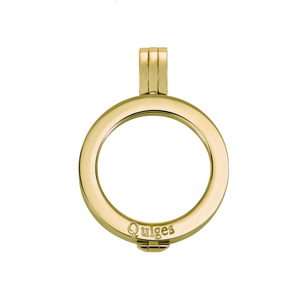 Quiges Vergoldeter Edelstahl Auswechselbarer Münzhalter Coin Anhänger 25mm Small