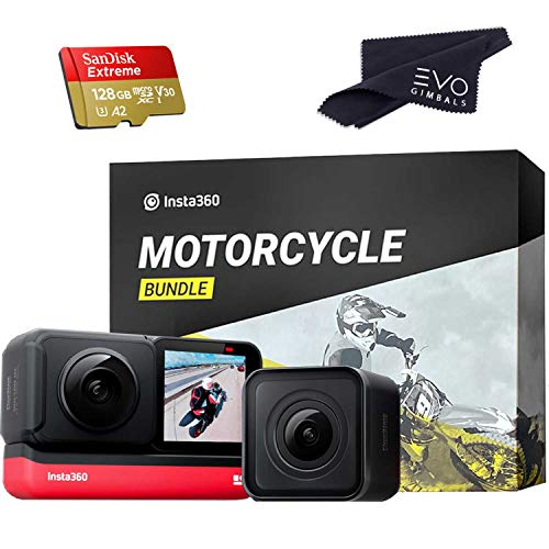 Insta360 ONE R Twin Edition - Super 5.7K Dual-Lens 360 Camera + 4K Wide Angle 60FPS Action Cam | Includes Motorcycle Bundle & 128GB San Disk Memory Card (3 Items)