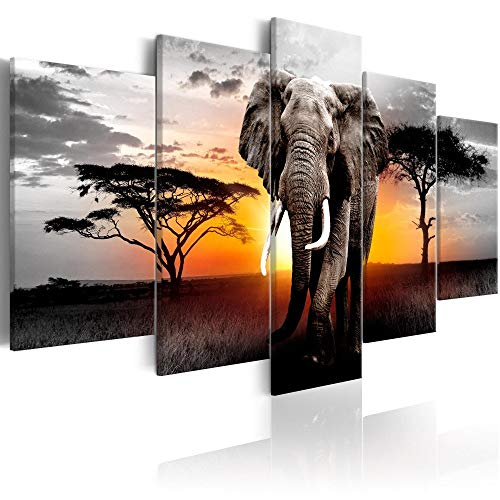 Elephant Wall Art Print on Wrapped Canvas Animals Landscape Painting Pictures Sunrise View Living Room Decoration Framed Ready to Hang