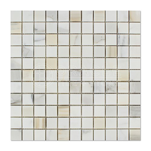 (Calacatta Gold (Italian Calcutta) Marble 1 X 1 Mosaic Tile, Polished)