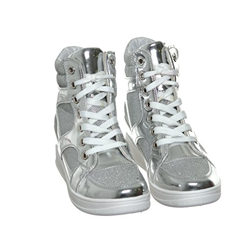 Shoewhatever Womens Metallic Glitter Top In Pizzo Con Zeppa Moda Sneakers Argento