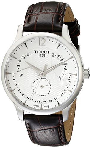 Tissot Men's T0636371603700 Stainless Steel Watch With Brown - Perpetual Calendar White Strap Dial
