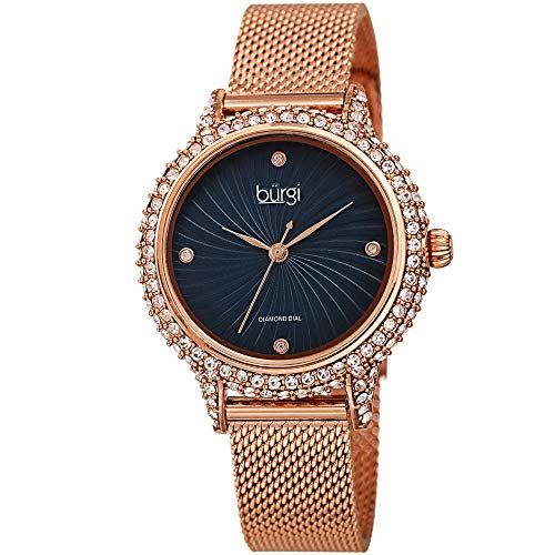 Burgi Swarovski BUR250 Women's Swarovski Crystal Studded Case Watch with 4 Diamond Markers On A Mesh Band (Rose Gold on Blue Dial)