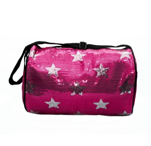Girls Quilted Nylon Dance Duffle Bag w/ Sequin Stars Fuchsia
