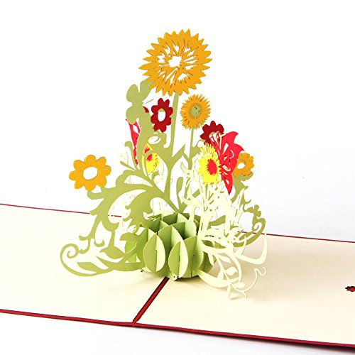 Sunflower 3D Pop Up Greeting Card Handmade Happy Birthday Wedding Anniversary Friendship Merry Christmas Thanksgiving Thank You Best Wish Good Luck Happy New Year Valentine's Day