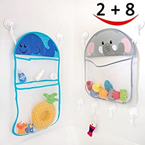 2 Bath Toy Organizer and 8 Ultra Strong Suction Hooks, Multi use Organization and Storage Nets for Baby Bath Toys