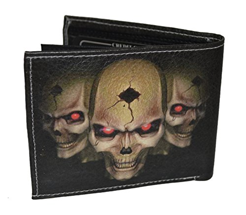 Mens Bifold Exotic Wallet Picture 3 Skulls with printed gift box