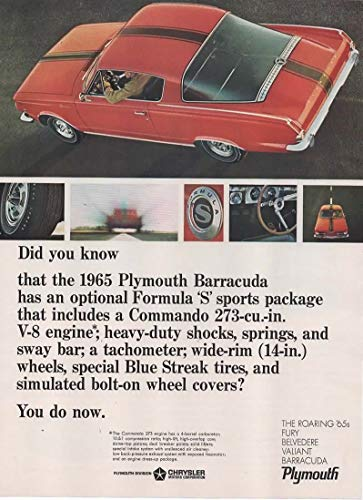 (Magazine Print Ad: Red 1965 Plymouth Barracuda Formula S Sports Package,